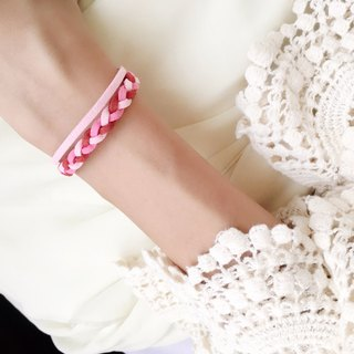 Handmade Double Braided Stylish Bracelets Rose Gold Series–berry pink limited