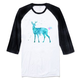 Splash Deer Sleeve T-shirt white black elk color watercolor illustration deer universe design own brand Milky Way trendy round triangle
