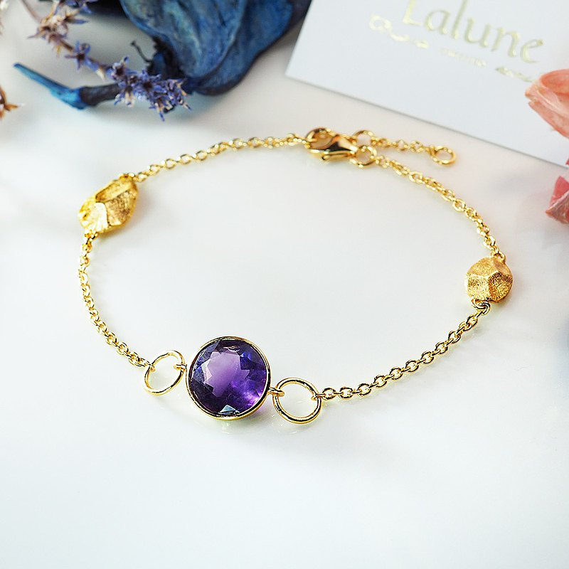 February Birthstone || Constellation Star Morning|| Single Amethyst 925 Sterling Silver Plated 18K Gold Leaf Bracelet