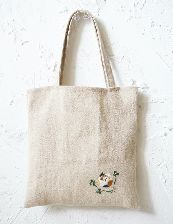 Cat and Clover handmade embroidery bag