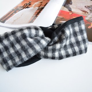 wool  hairband check pattern black×white