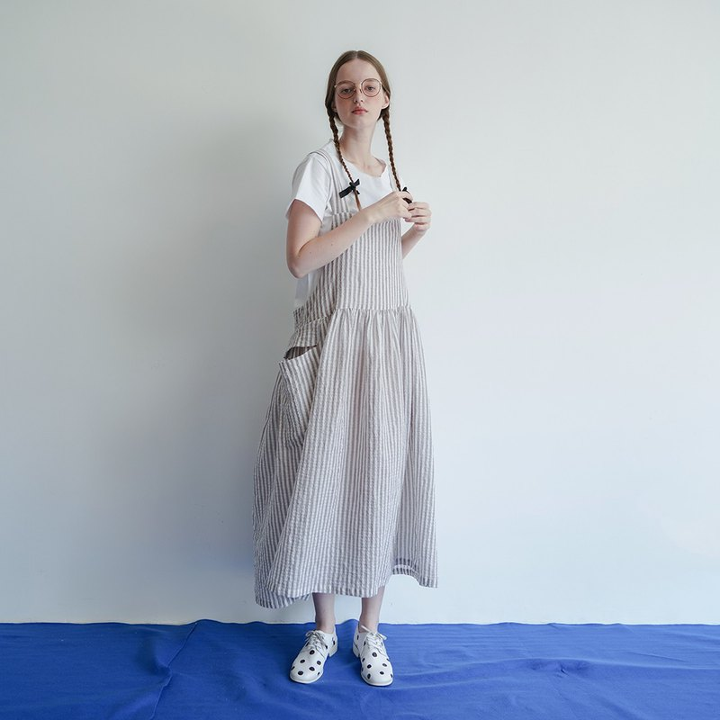 Striped sling cotton skirt - imakokoni