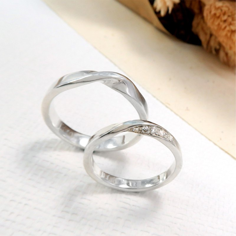 Mobius series small diamond pair ring plain silver ring (pair)