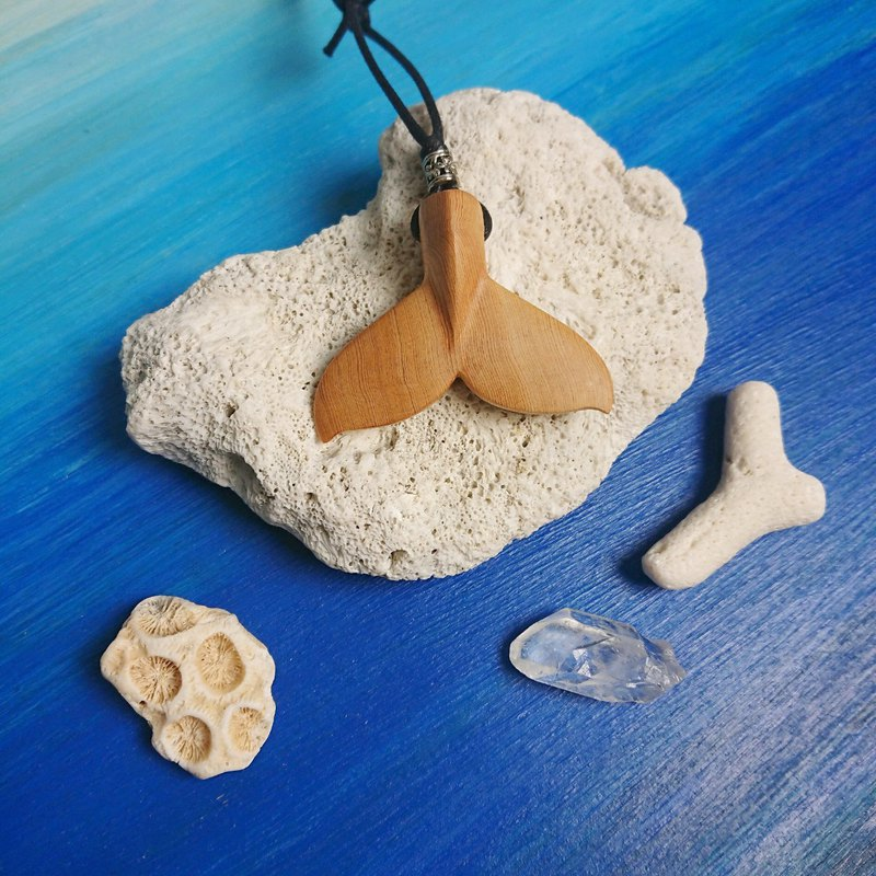 Ocean Life-Blue Whale Tail Crude Wood Necklace