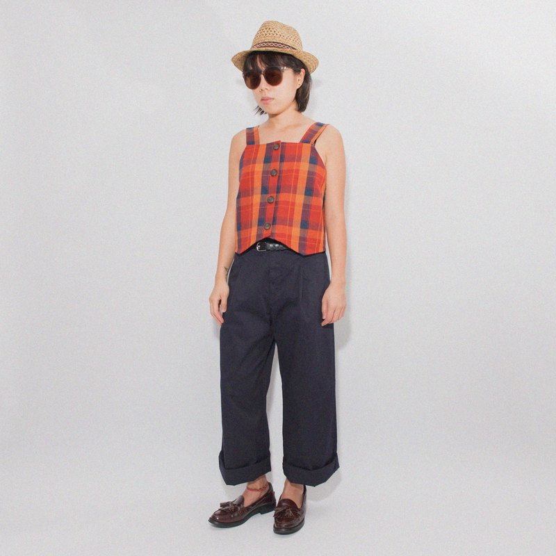 ÁLVARO Vest - Orange Plaid