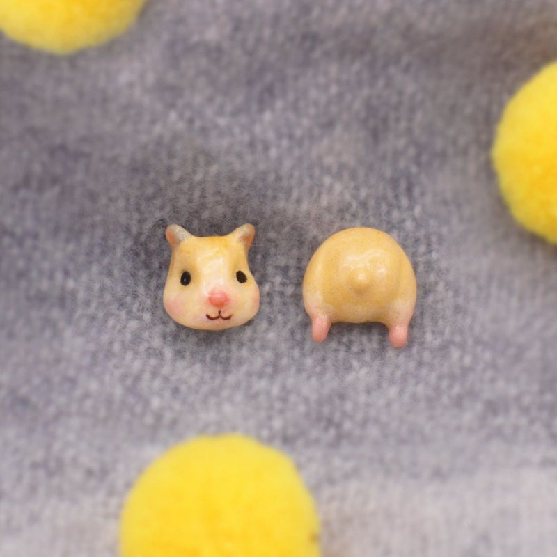 Teddy Bear Hamster | pair of  Earrings or Earclips | Spot, send it immediately