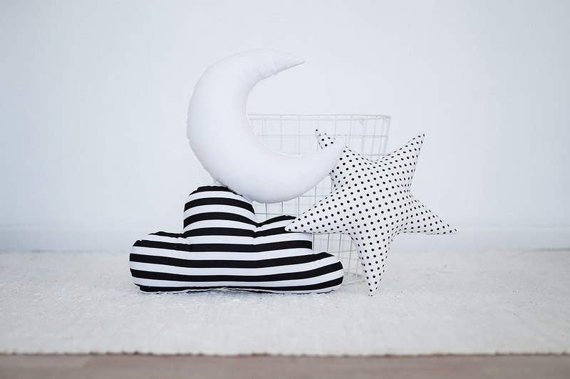 Set of 3! White and black kids shaped pillows moon - star - cloud