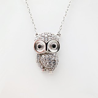 Lovely Owl 925 Silver Necklace Zircon Pendant Platinum-Clad