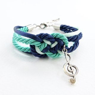 Mint/Navy blue nautical bracelet with silver music note charm