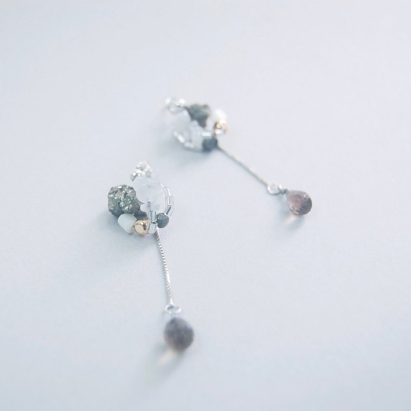 2-way Pyrite moonstone Smoky Quartz Crystal Gemstone 925 Silver Earrings clips