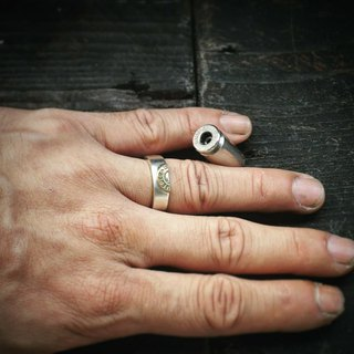 Real bullet wide version silver ring half bullet ring