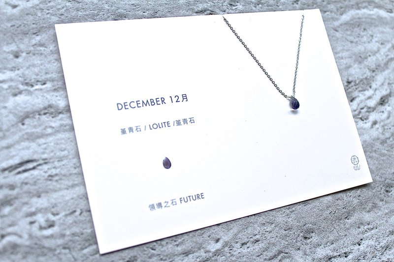 December Birthstone - Cordierite lolite アイオライト 316L Medical Steel Clavicle Necklace