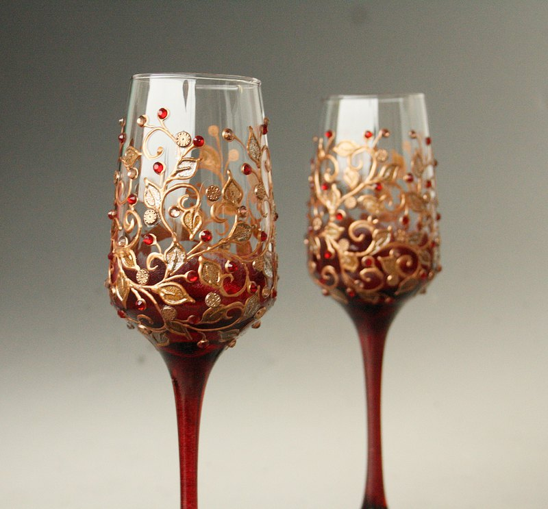 Burgundy dark red Champagne Wine Glasses with copper floral design.Hand Painted