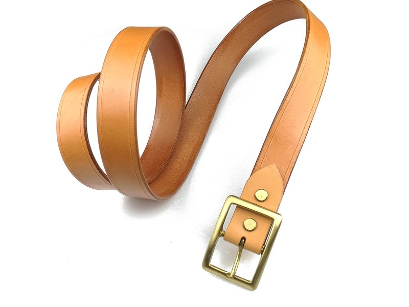 4MM thickness belt / hand dyeing / double needle hand sewing / Italian vegetable tanned leather