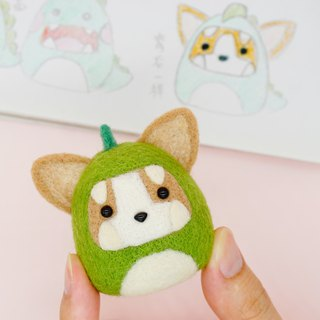 Wool felt little monster Corgi dog home decoration key ring pin car decoration office small things