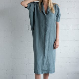 Linen Dress Motumo – 17S15 / Handmade loose linen summer dress