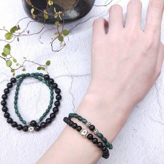wristband. Malachite Black Coral 925 Sterling Silver Double Circle Bracelet [2 in preferential group] Valentine's Day / Christmas