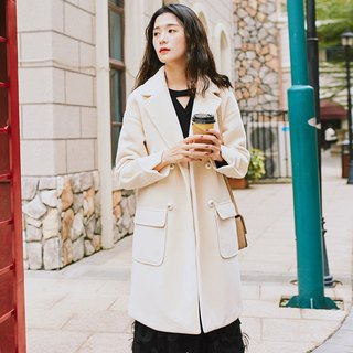 2018 women's winter wear large pocket long coat