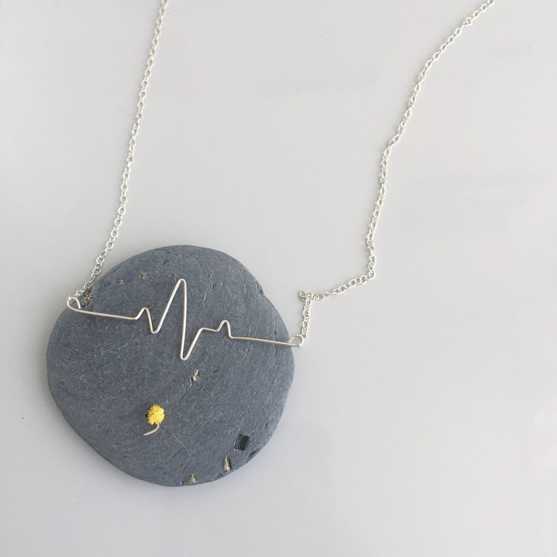 heart / ECG wave silver necklace