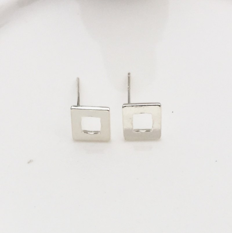 Big member [handmade silver jewelry] geometric square sterling silver earrings
