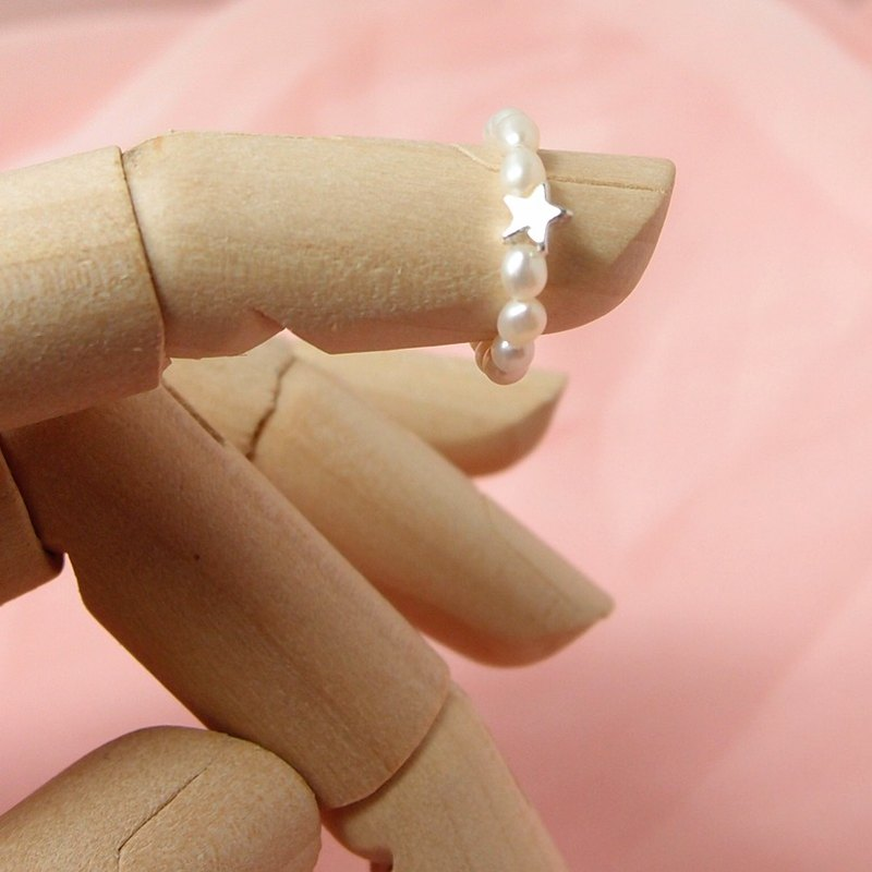 Fox Garden Handmade Natural Freshwater Pearl Star Ring / Birthday Gift / Valentine's Day Gift