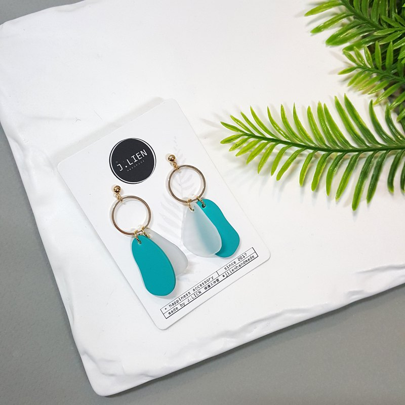 Color block equation - cool blue and green ear pin / ear clip handmade earrings Korea direct