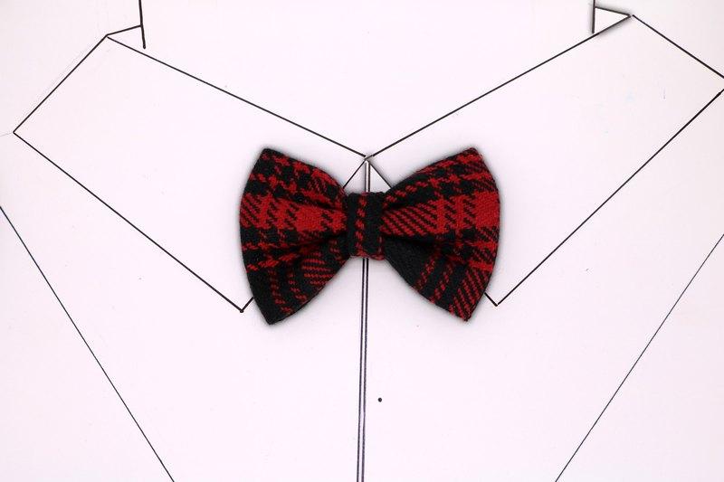 黑紅格子領結蝴蝶結復古領花