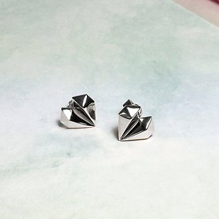 Diamond Heart 18K White Gold 925 Silver Earrings