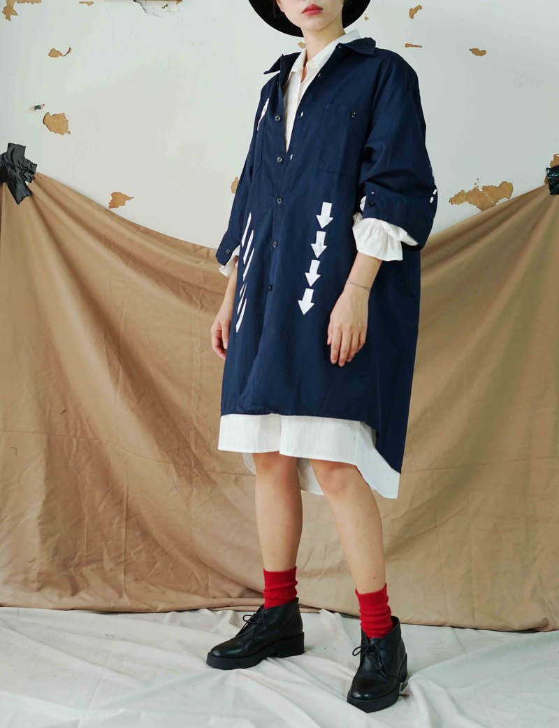 Restyle transformation vintage - Wenqing dark blue geometric lines 绢 printed tooling long version of shirt dress