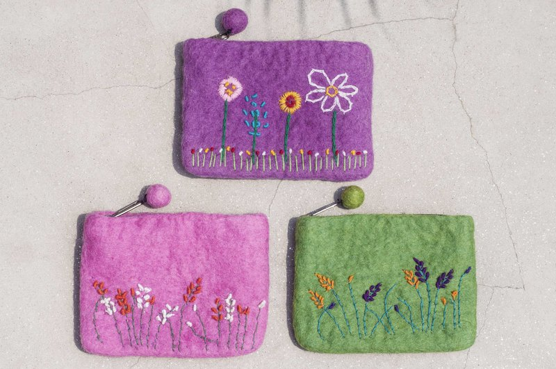 Wool felt storage bag national wind bag leisure card set mobile phone bag purse earphone bag - embroidery flowers