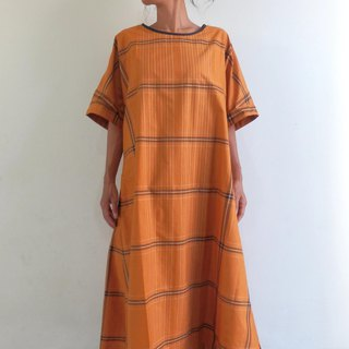 One piece dress made with check salon / Orange