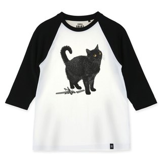 AMO®Original canned cotton adult 3/4 raglan T-shirt/AKE/Cat Who Broken A Toy But Saying In His Face-It's Your Fault To Put It On My Reach