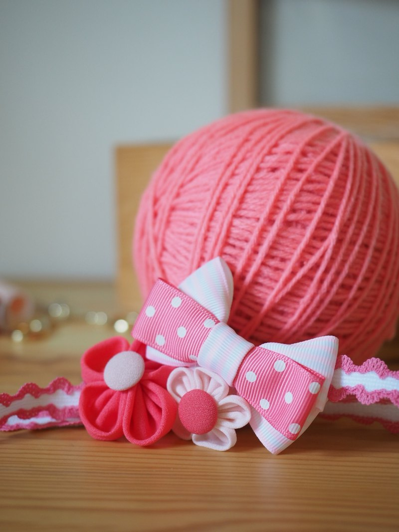 Handmade Elastic Baby Headband with ribbon bow and fabric flowers