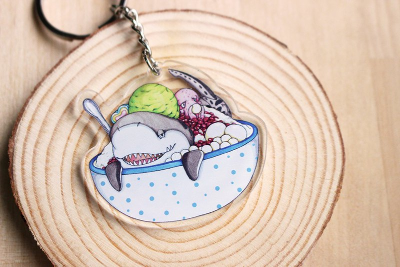 Tofu shark spot spot whale shark Acrylic ornaments tiger shark matcha red beans snow ice