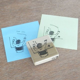 "Handmade rubber stamp ""Sleeping office worker"""