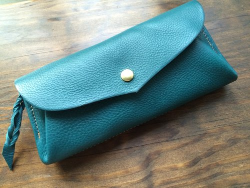 "【Instant delivery possible】 Italian leather * 12 cards long wallet ""series-envelope"" turquoise"