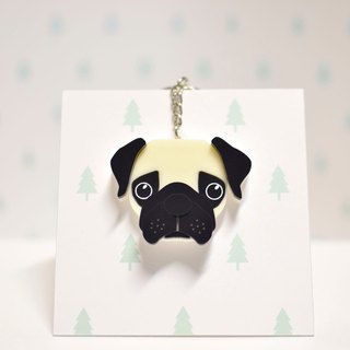 Pug - Keyring - Pet Accessories - Pet Charm - Hair Kids - Gifts - Custom - Acrylic - BU