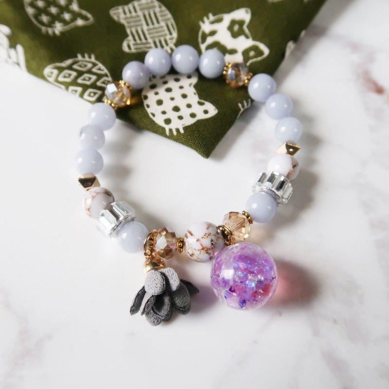 Limited Edition||Natural Stone Series-Symbol Sugar Dry Flower Crystal Ball Bracelet Gift Preferred
