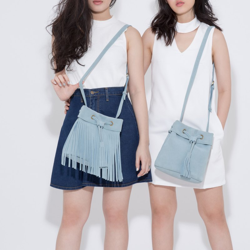 Leather fringe Bag ( Sky Blue) : The Undress Cottoned Candy