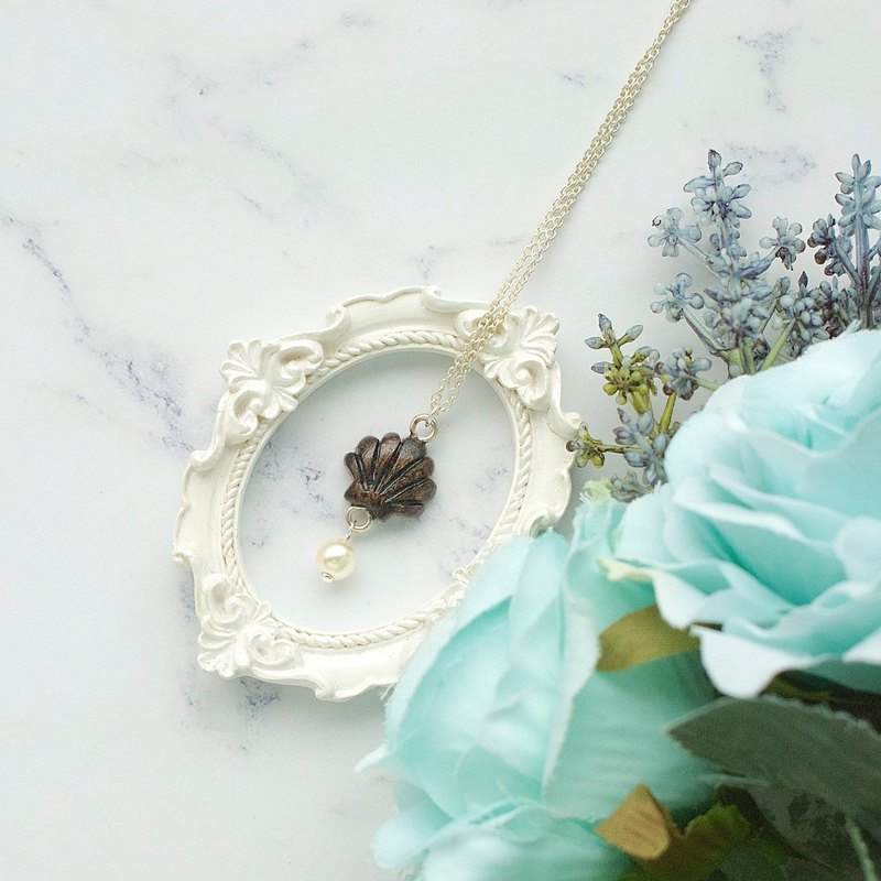 Wood shell pearl necklace gift custom
