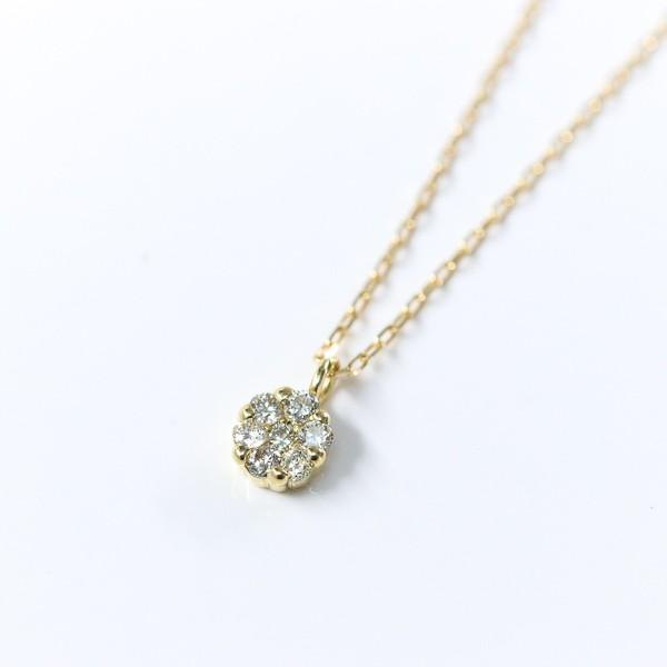 Quantity limited eternal invariant K18 gold natural diamond flower necklace April birthstone