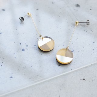 Swing Three tone mirror earrings / gray-gold