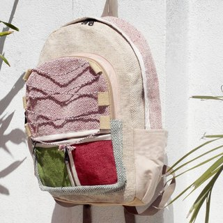 Valentine's Day Limit a hand-made cotton and linen stitching design backpack / shoulder bag / national mountaineering bag / patchwork package - red green color forest national backpack