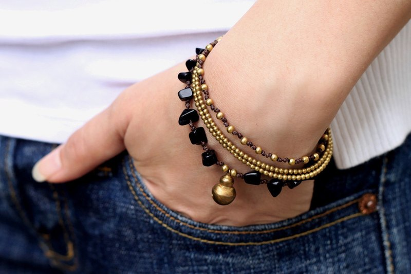 Black Onyx Chain Layer Bracelets Strand Woven Brass Beaded Charm