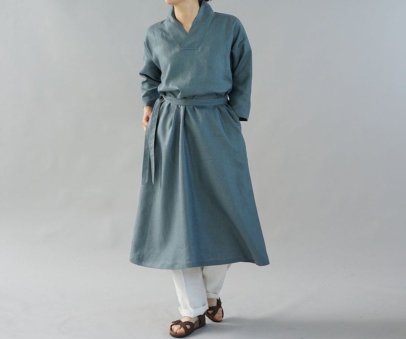 wafu  linen dress / Japanese style / kimono collar / Etain-Blue  a084a-ebn2