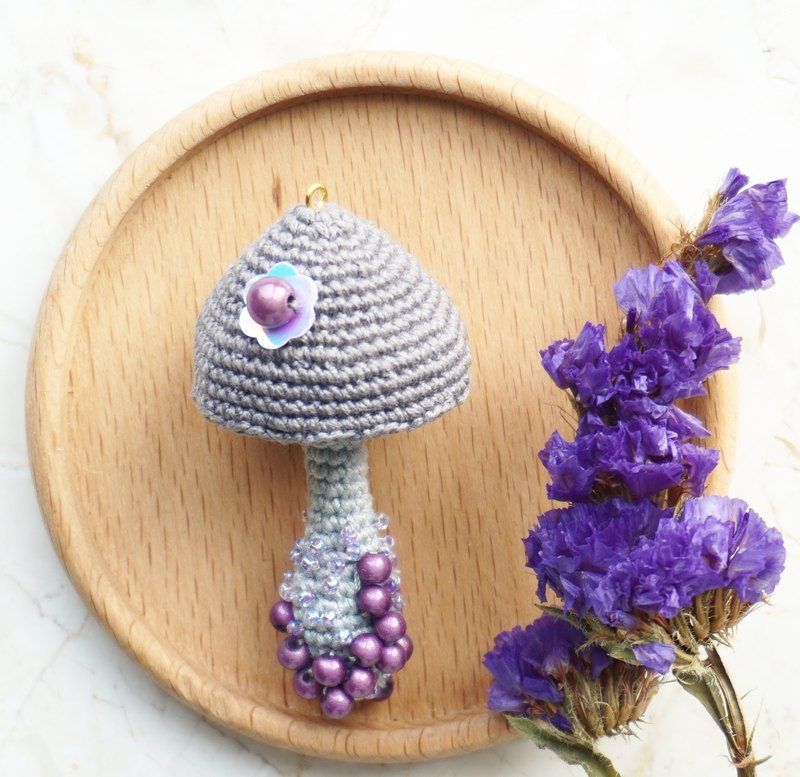 Gray mushroom necklace pendant pure hand crochet