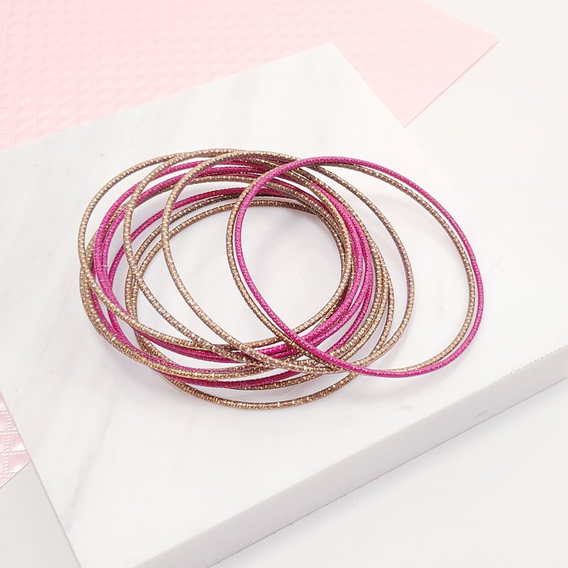 Daqian Design Pink Gold Gorgeous Fashion Multi-Circle Bracelet Party Music Festival Ocean Resort