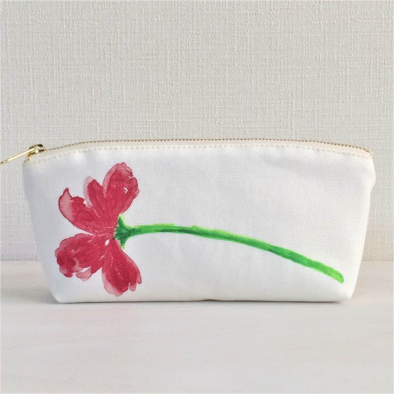 Bloom Flower Horizontal Machi with Pouch Floral Pattern Red