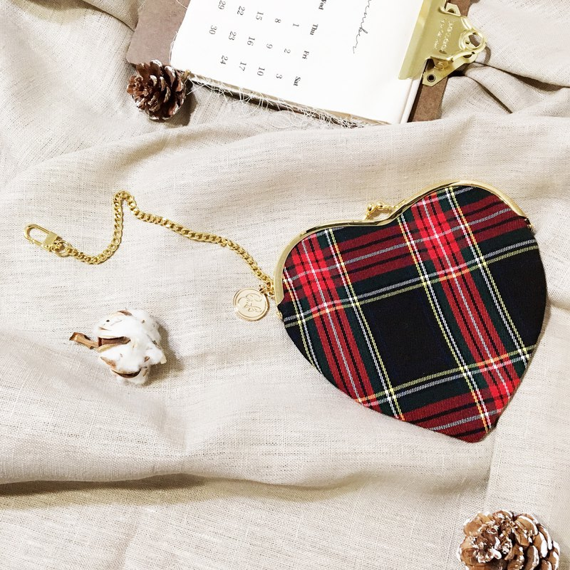 Christmas limited heart ticket card purse mouth gold bag can be hooked