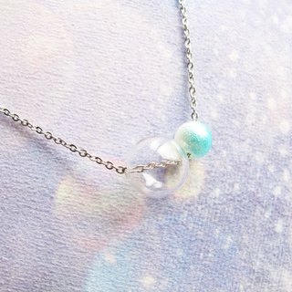Rosy Garden glass ball with baby blue pearl necklace